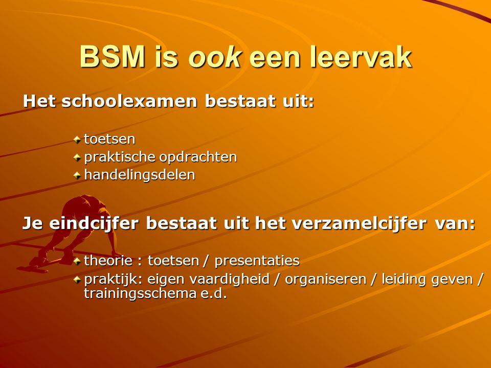 BSM is ook een leervak Het schoolexamen bestaat uit: