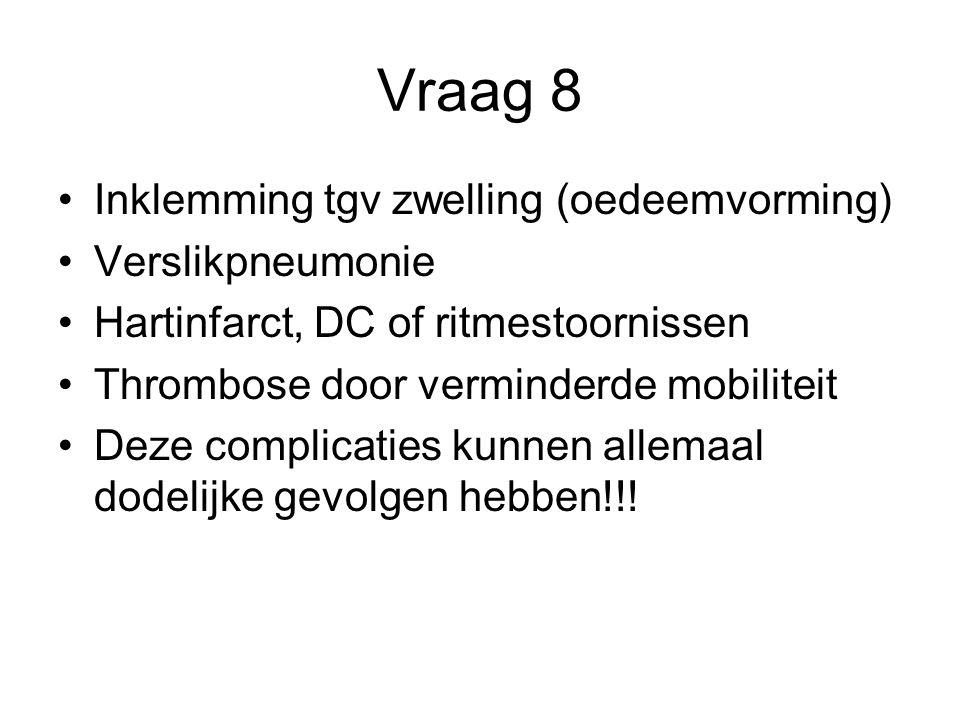 Vraag 8 Inklemming tgv zwelling (oedeemvorming) Verslikpneumonie