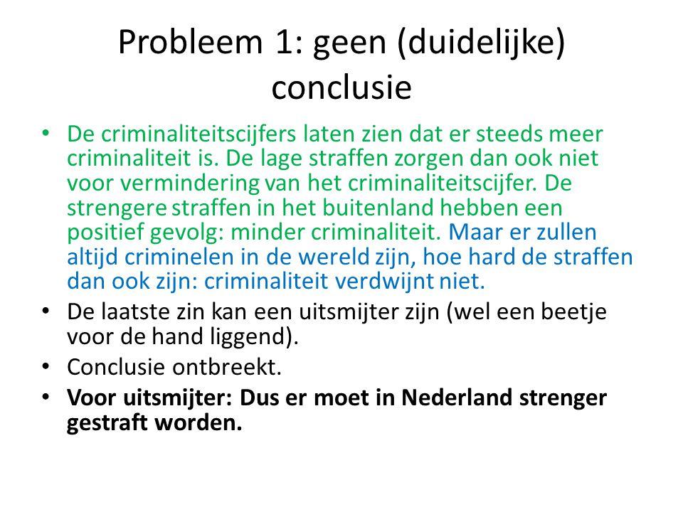 Probleem 1: geen (duidelijke) conclusie