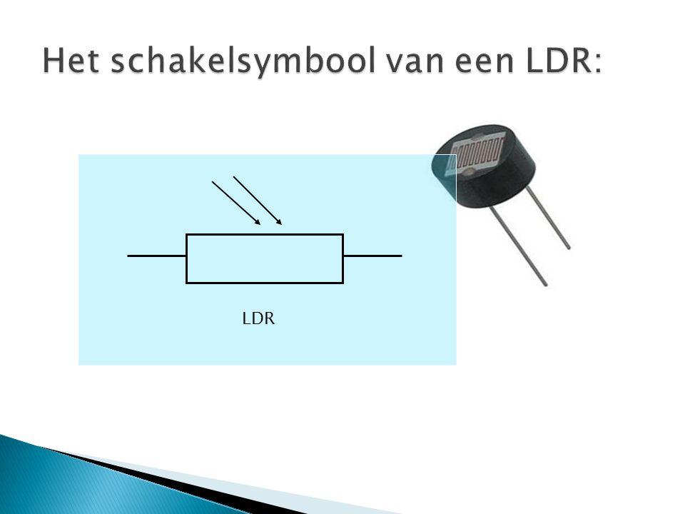 Het schakelsymbool van een LDR:
