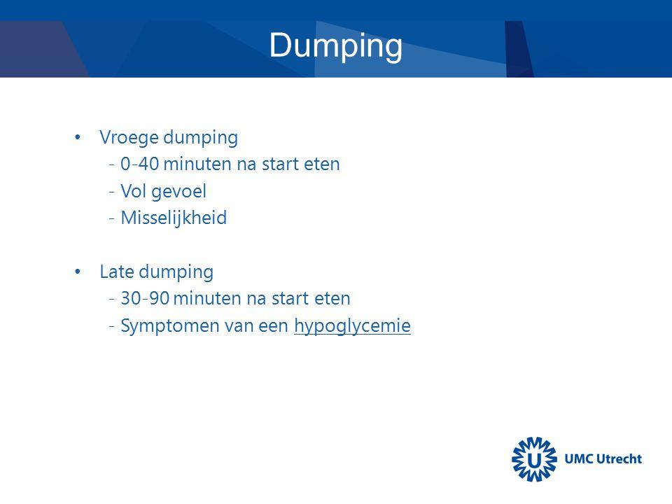 Dumping Vroege dumping - 0-40 minuten na start eten - Vol gevoel