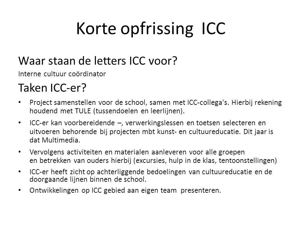 Korte opfrissing ICC Waar staan de letters ICC voor Taken ICC-er