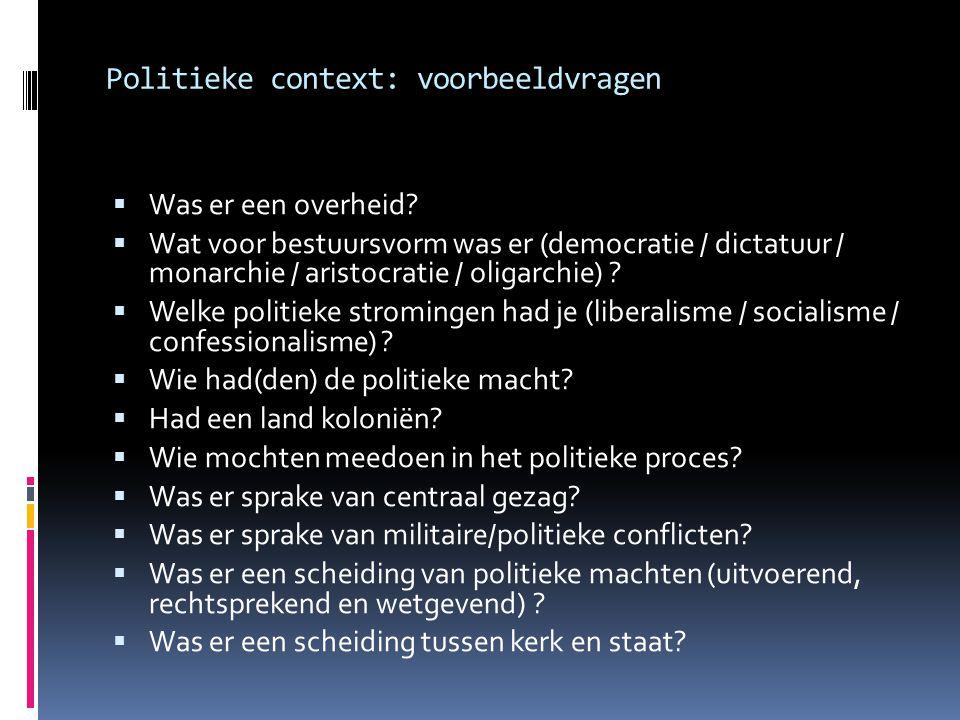 Politieke context: voorbeeldvragen