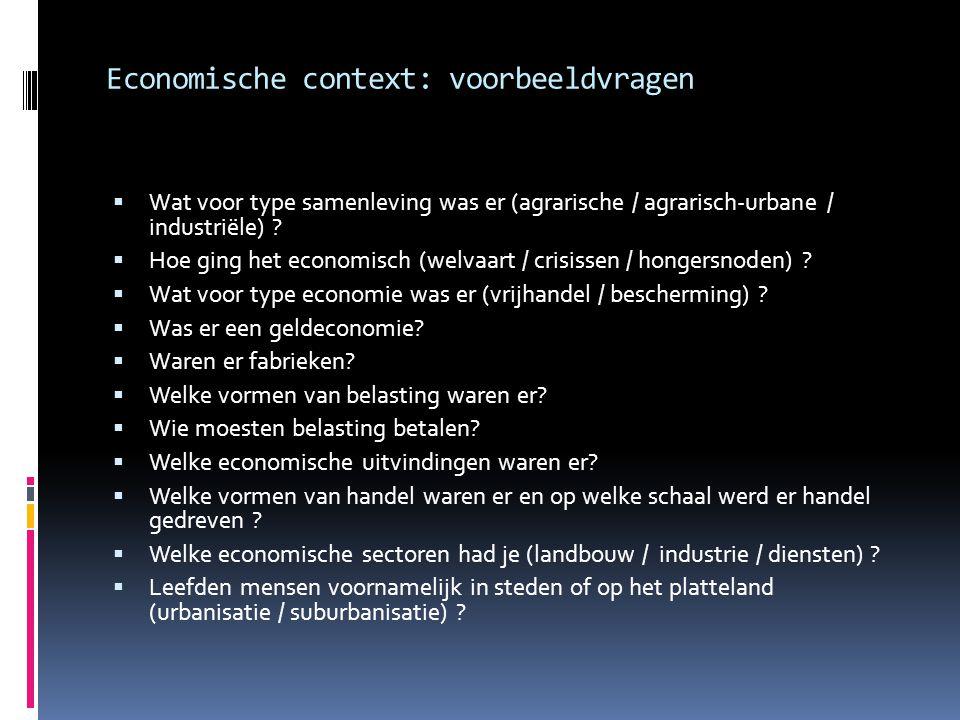Economische context: voorbeeldvragen