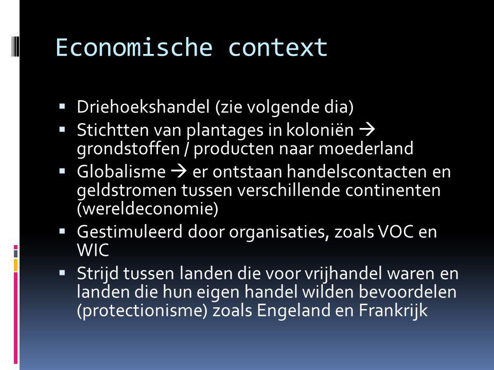 Economische context Driehoekshandel (zie volgende dia)