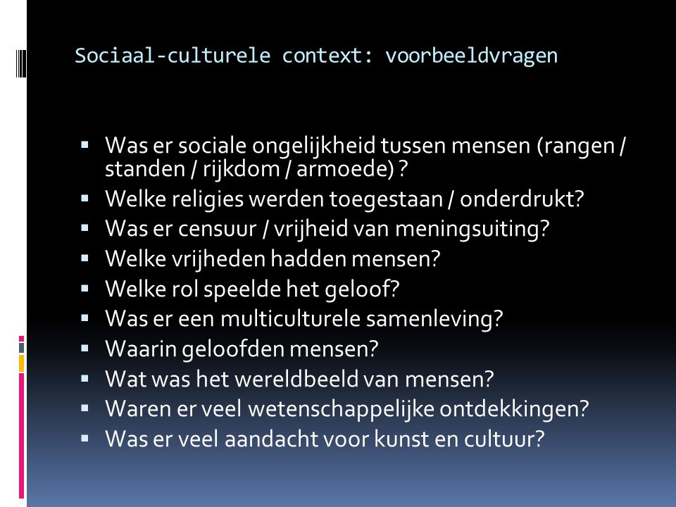 Sociaal-culturele context: voorbeeldvragen