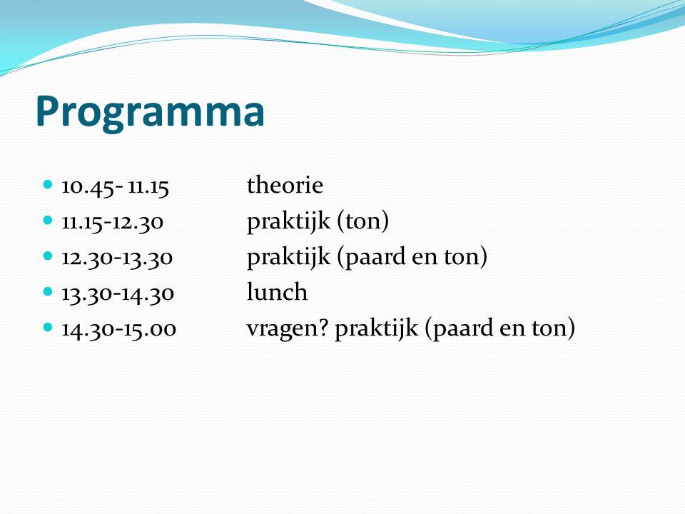 Programma 10.45- 11.15 theorie 11.15-12.30 praktijk (ton)