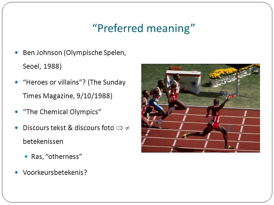 Preferred meaning Ben Johnson (Olympische Spelen, Seoel, 1988)