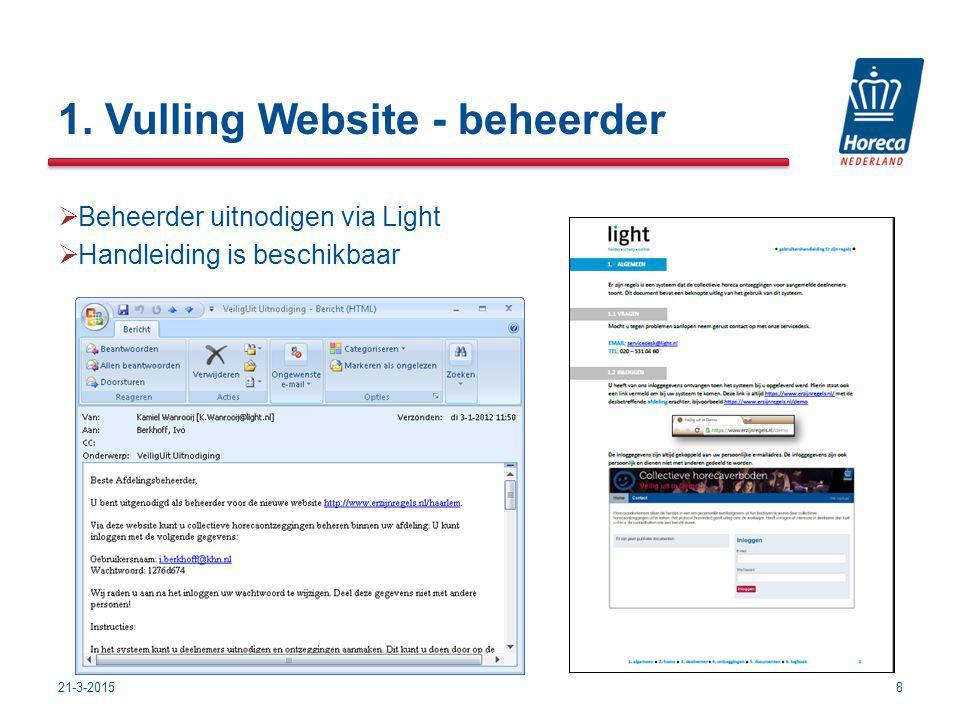 1. Vulling Website - beheerder