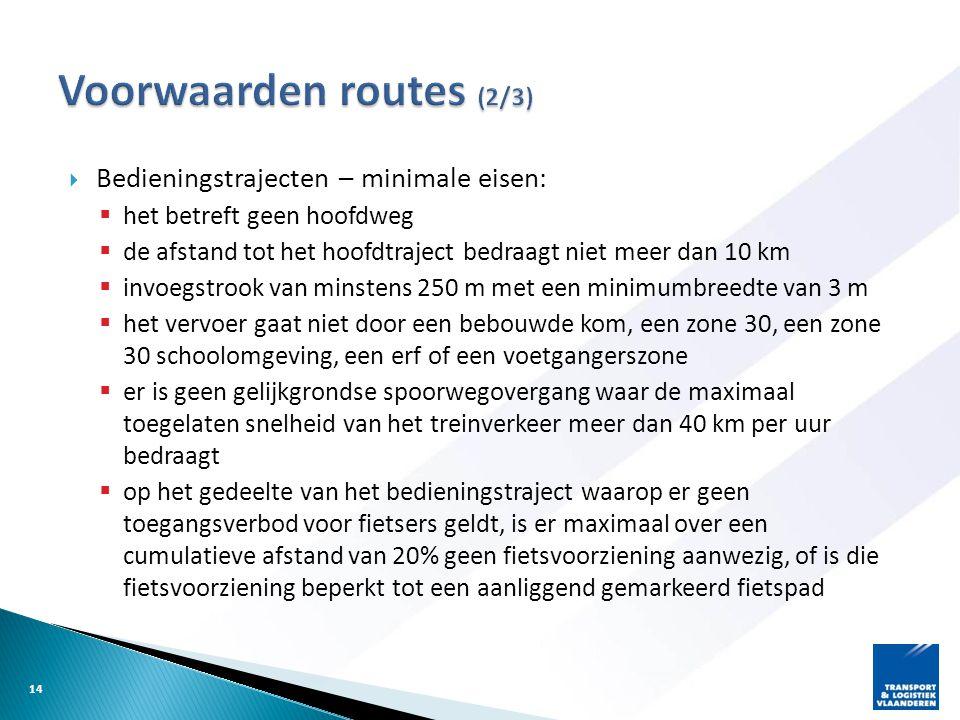 Voorwaarden routes (2/3)
