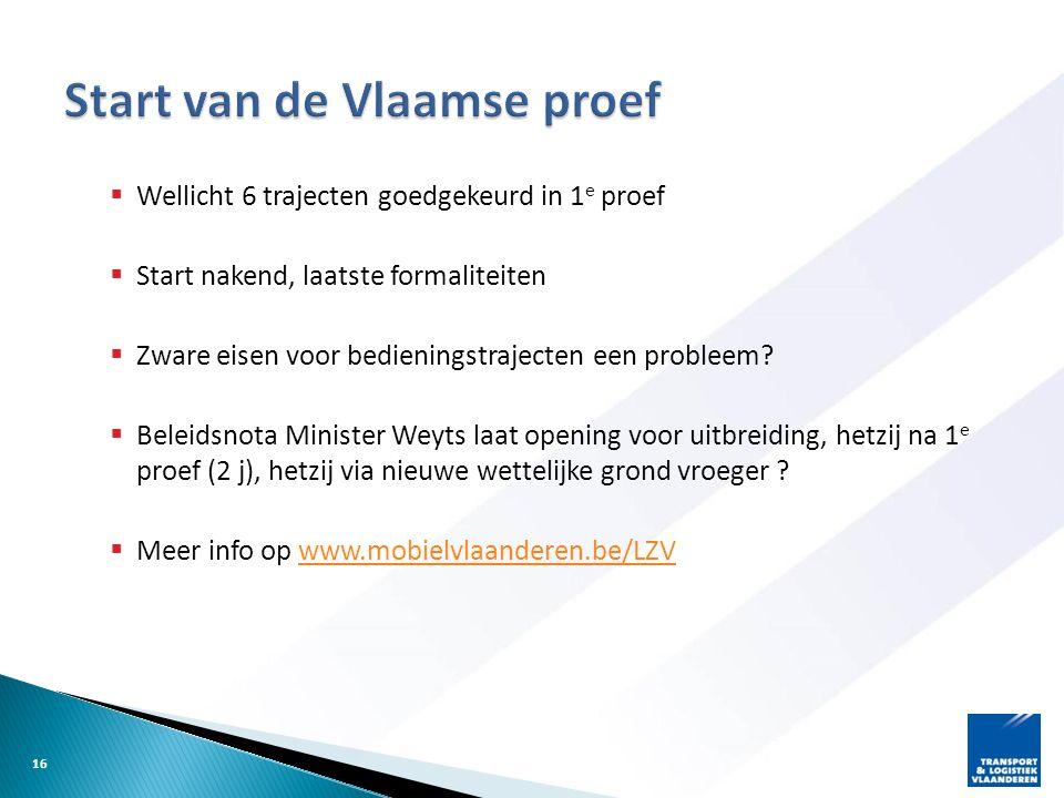 Start van de Vlaamse proef