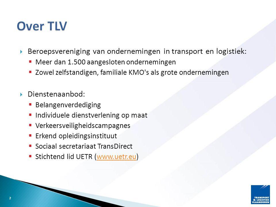 Over TLV Beroepsvereniging van ondernemingen in transport en logistiek: Meer dan 1.500 aangesloten ondernemingen.