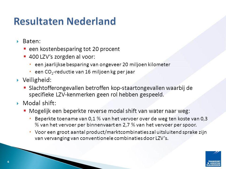 Resultaten Nederland Baten: Veiligheid: Modal shift: