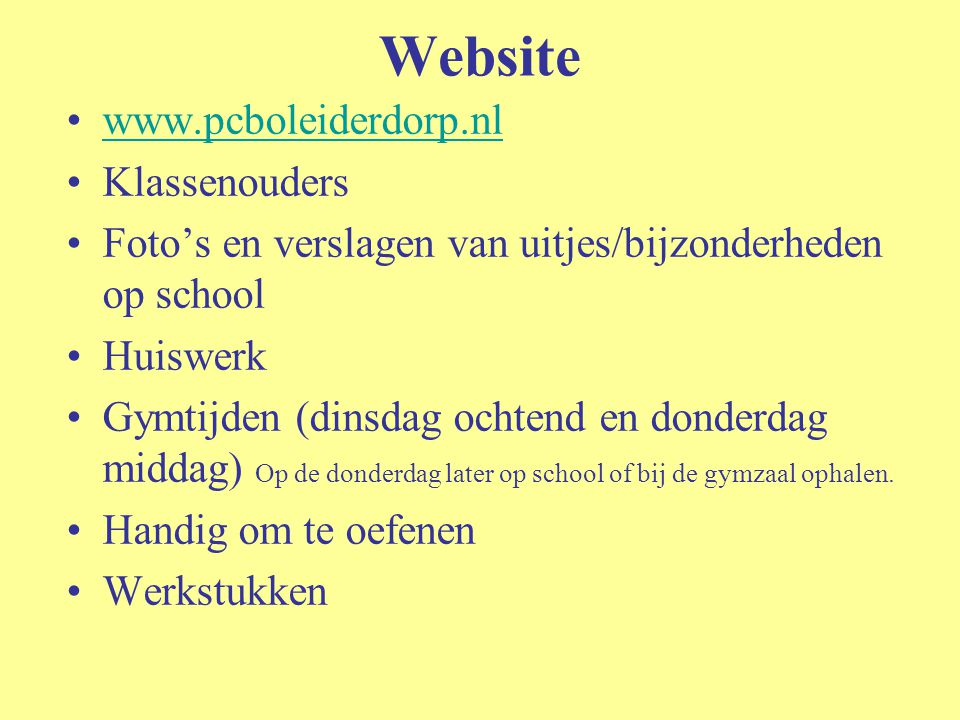 Website www.pcboleiderdorp.nl Klassenouders