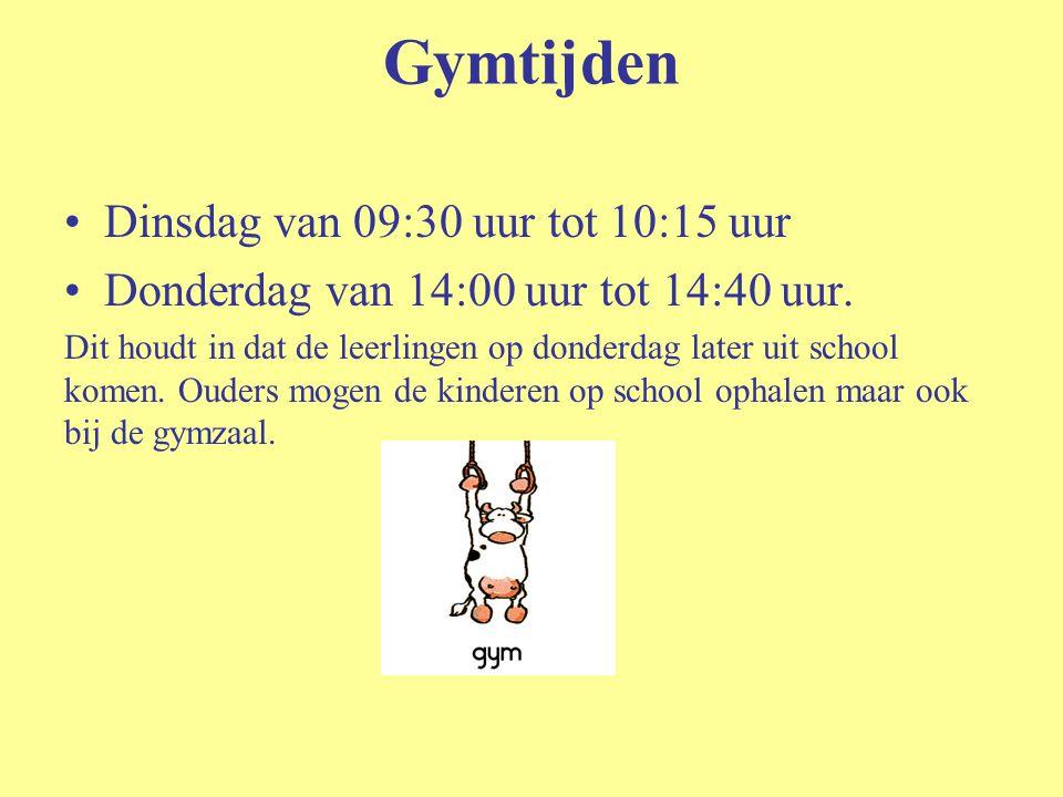 Gymtijden Dinsdag van 09:30 uur tot 10:15 uur