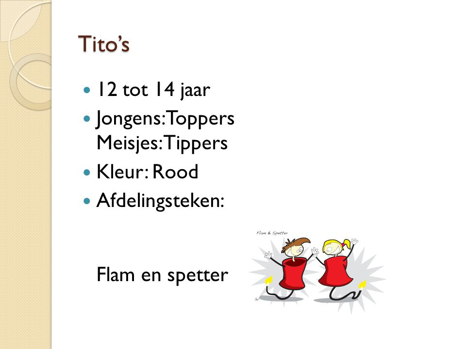 Tito's 12 tot 14 jaar Jongens: Toppers Meisjes: Tippers Kleur: Rood