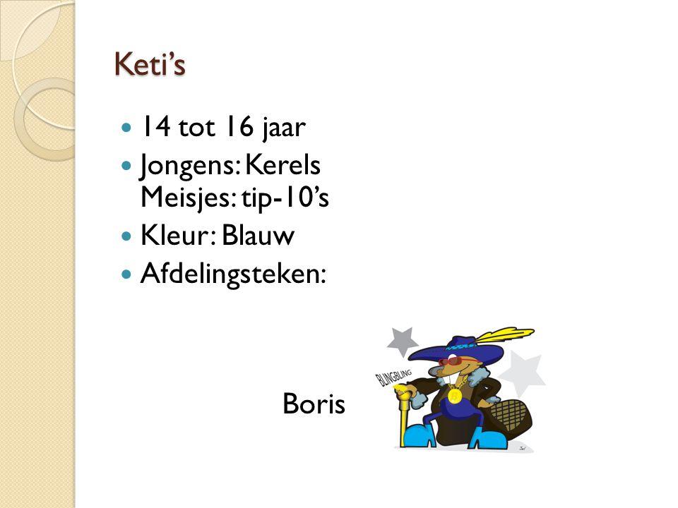 Keti's 14 tot 16 jaar Jongens: Kerels Meisjes: tip-10's Kleur: Blauw