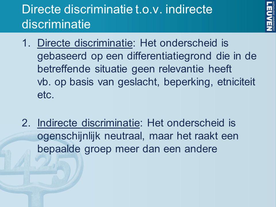 Directe discriminatie t.o.v. indirecte discriminatie