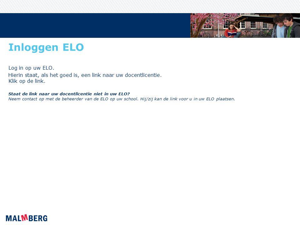 Inloggen ELO Log in op uw ELO.