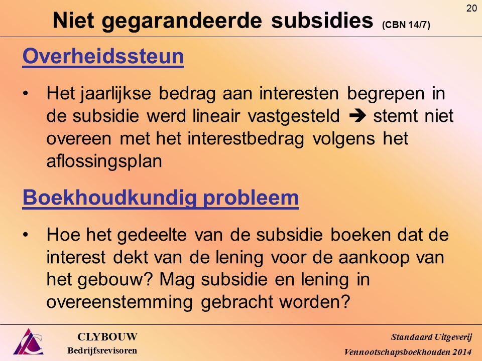 Niet gegarandeerde subsidies (CBN 14/7)