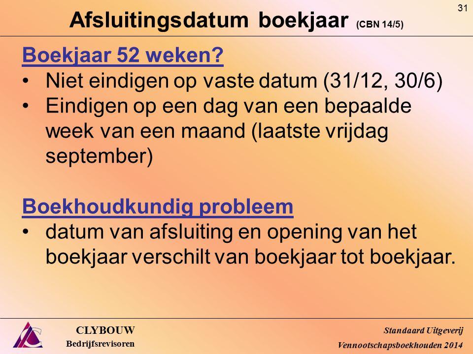 Afsluitingsdatum boekjaar (CBN 14/5)