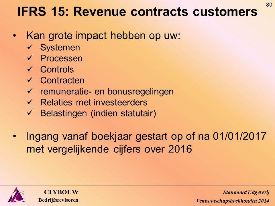IFRS 15: Revenue contracts customers