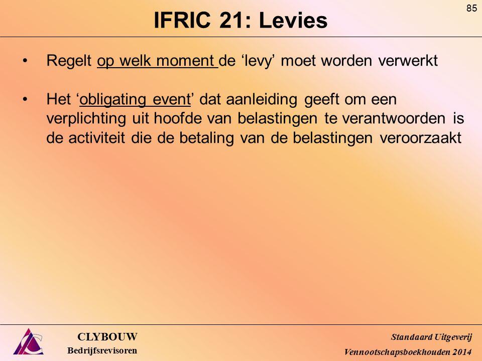 IFRIC 21: Levies Regelt op welk moment de 'levy' moet worden verwerkt