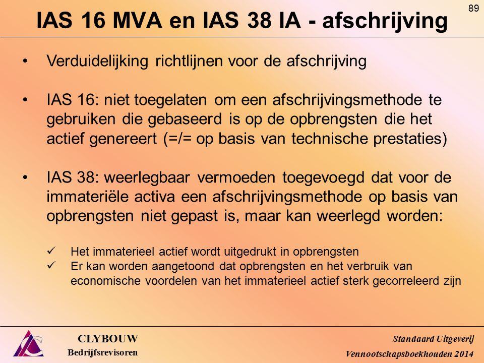 IAS 16 MVA en IAS 38 IA - afschrijving