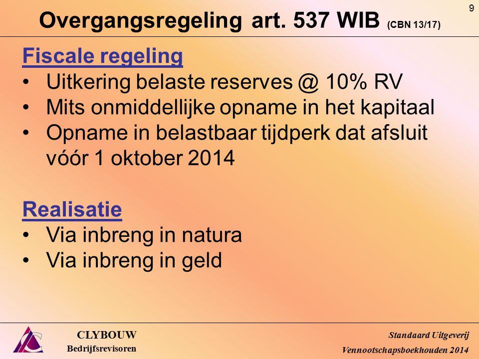 Overgangsregeling art. 537 WIB (CBN 13/17)