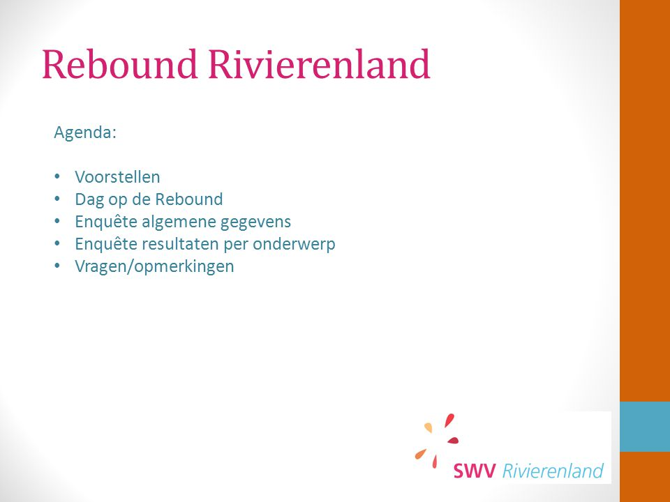 Rebound Rivierenland Agenda: Voorstellen Dag op de Rebound