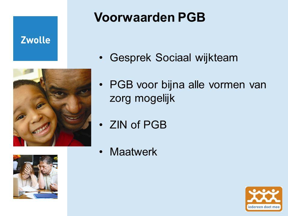 Voorwaarden PGB Gesprek Sociaal wijkteam