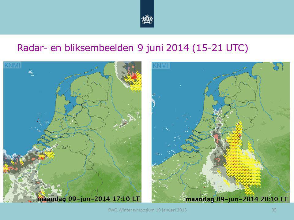 Radar- en bliksembeelden 9 juni 2014 (15-21 UTC)
