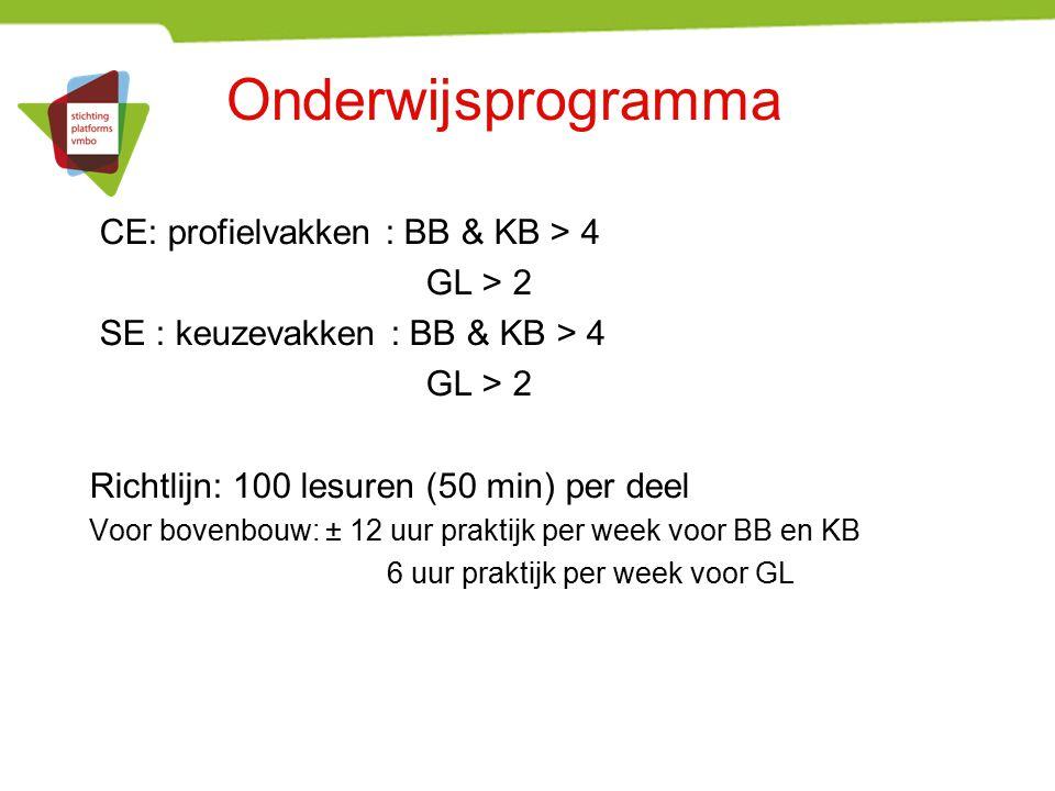 Onderwijsprogramma CE: profielvakken : BB & KB > 4 GL > 2