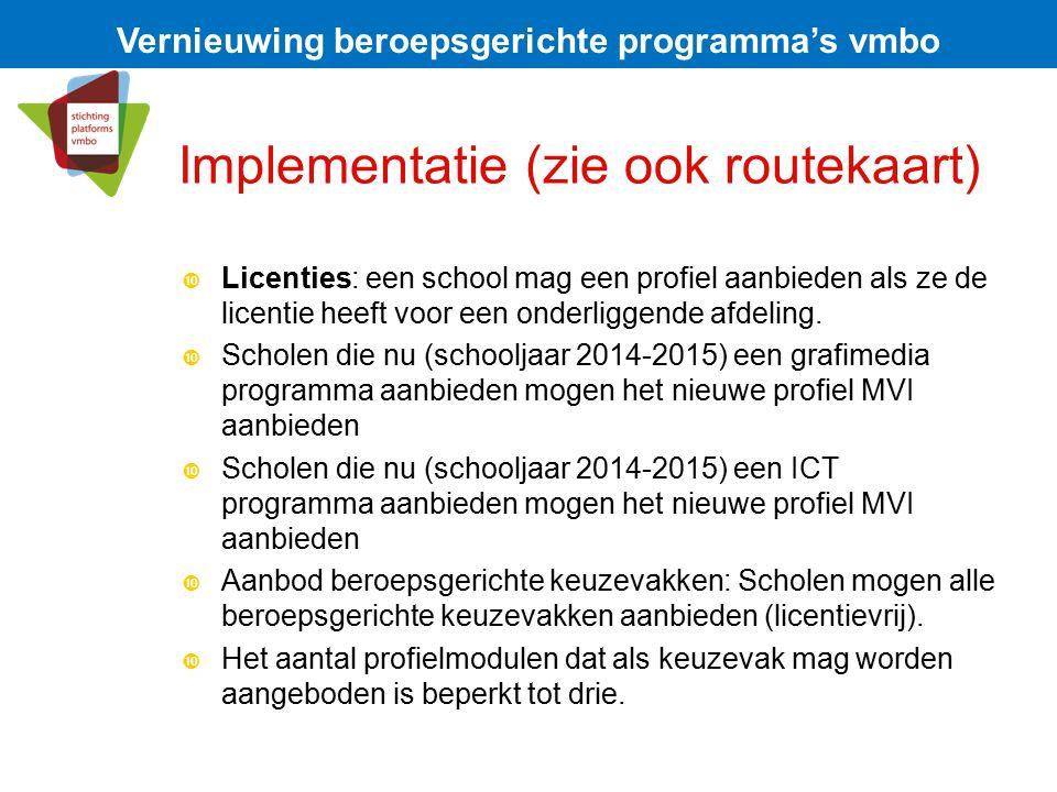 Implementatie (zie ook routekaart)