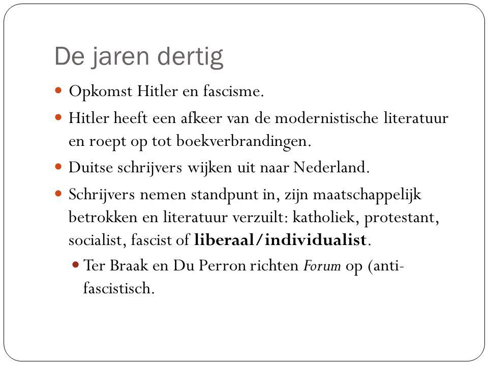 De jaren dertig Opkomst Hitler en fascisme.