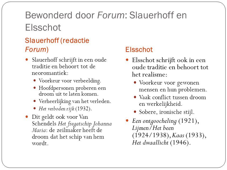 Bewonderd door Forum: Slauerhoff en Elsschot