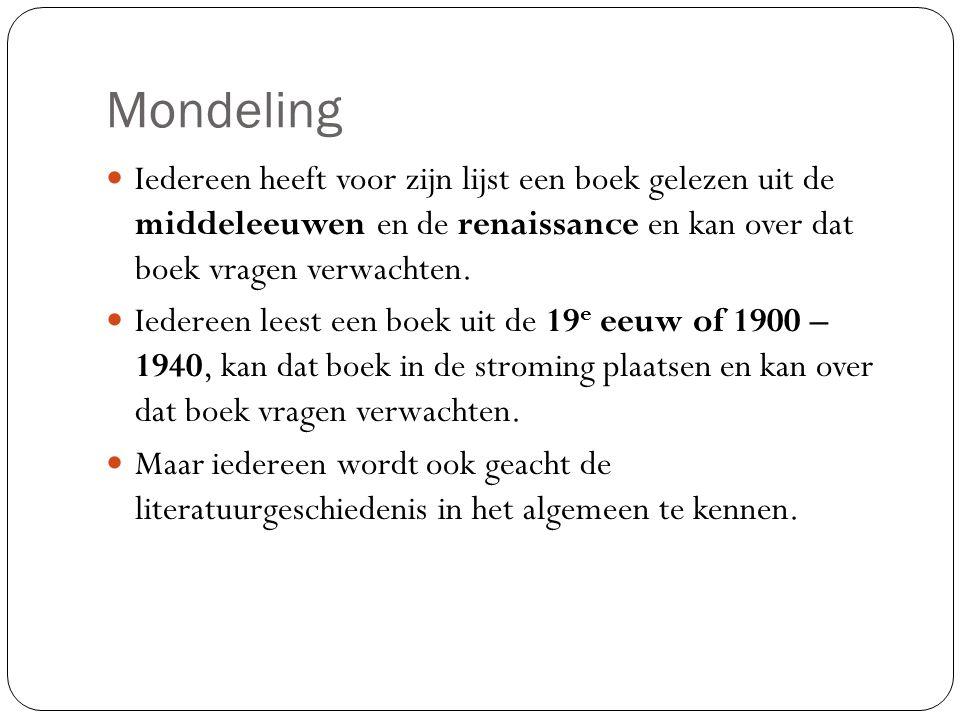 Mondeling Iedereen heeft voor zijn lijst een boek gelezen uit de middeleeuwen en de renaissance en kan over dat boek vragen verwachten.