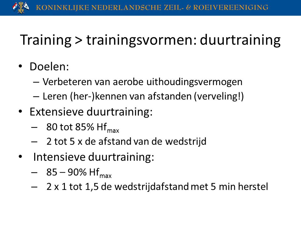 Training > trainingsvormen: duurtraining