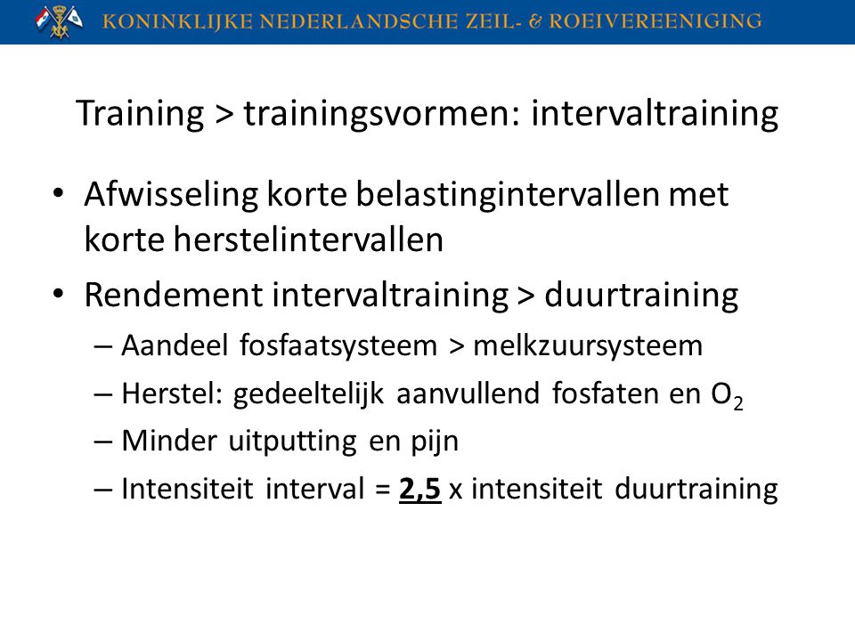 Training > trainingsvormen: intervaltraining