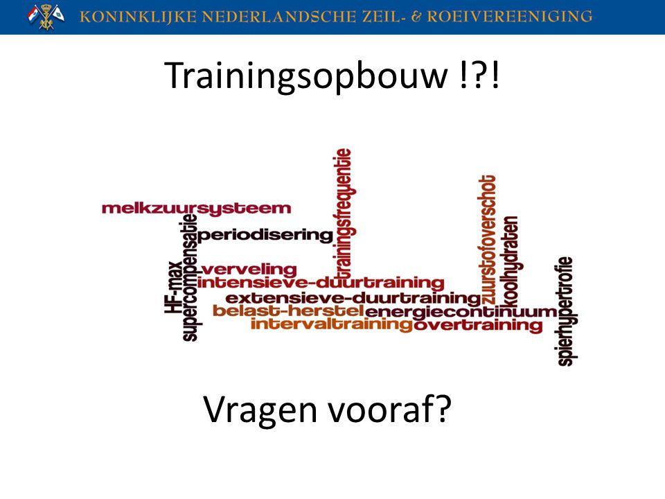 Trainingsopbouw ! ! Vragen vooraf