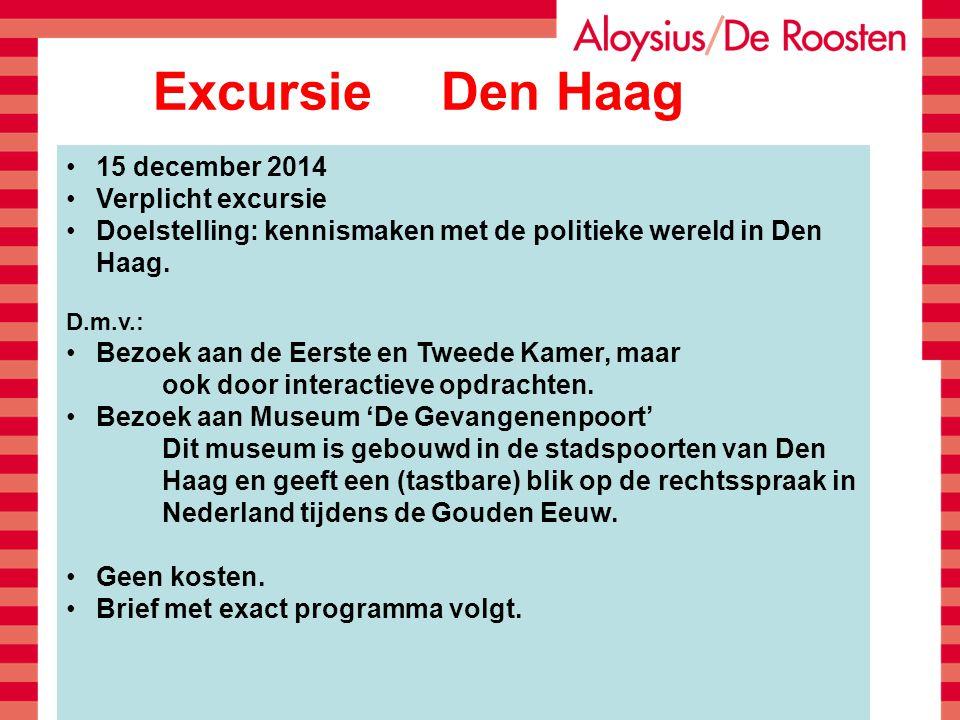 Excursie Den Haag 15 december 2014 Verplicht excursie