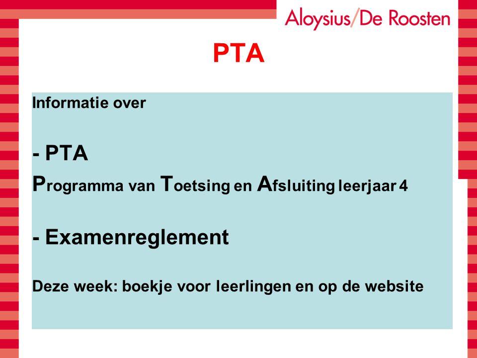 PTA - PTA Programma van Toetsing en Afsluiting leerjaar 4