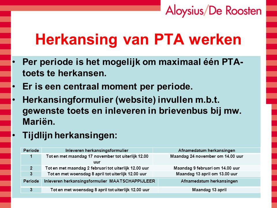 Herkansing van PTA werken