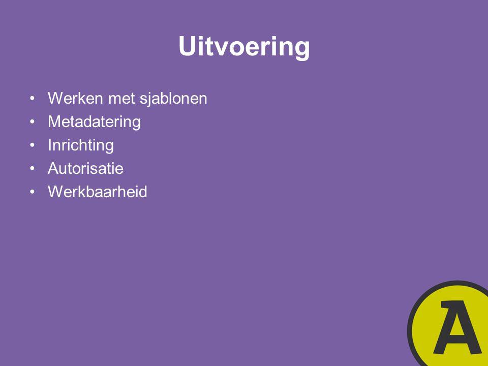 Uitvoering Werken met sjablonen Metadatering Inrichting Autorisatie