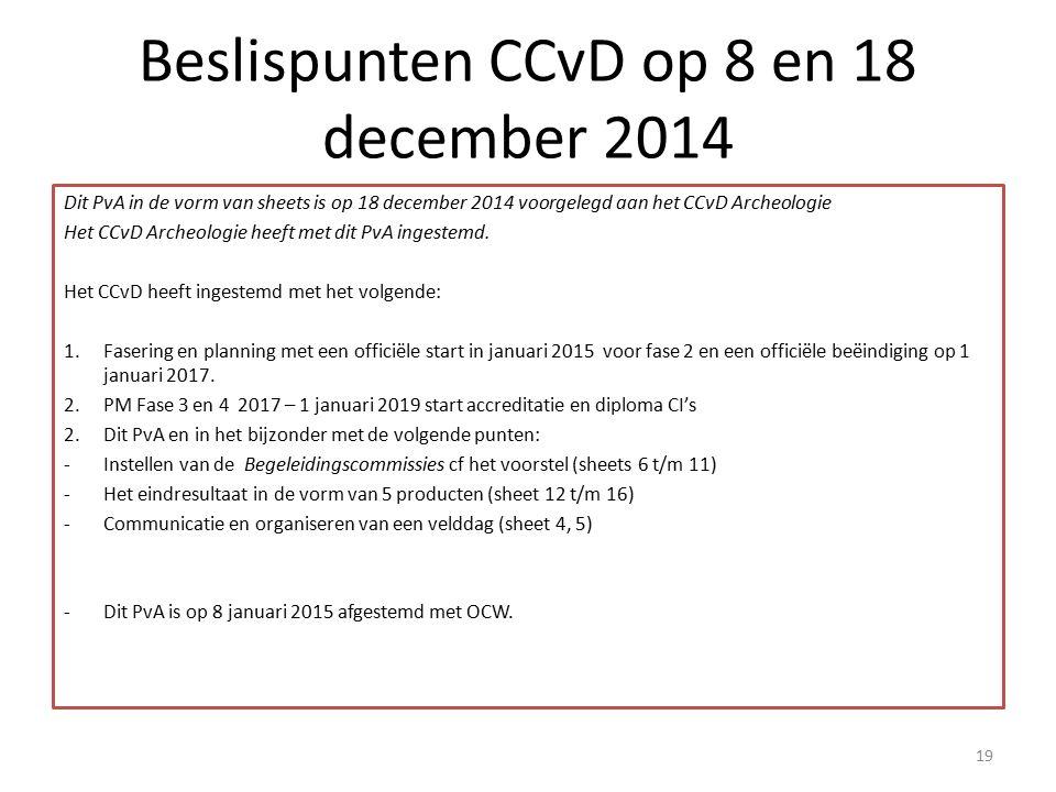Beslispunten CCvD op 8 en 18 december 2014