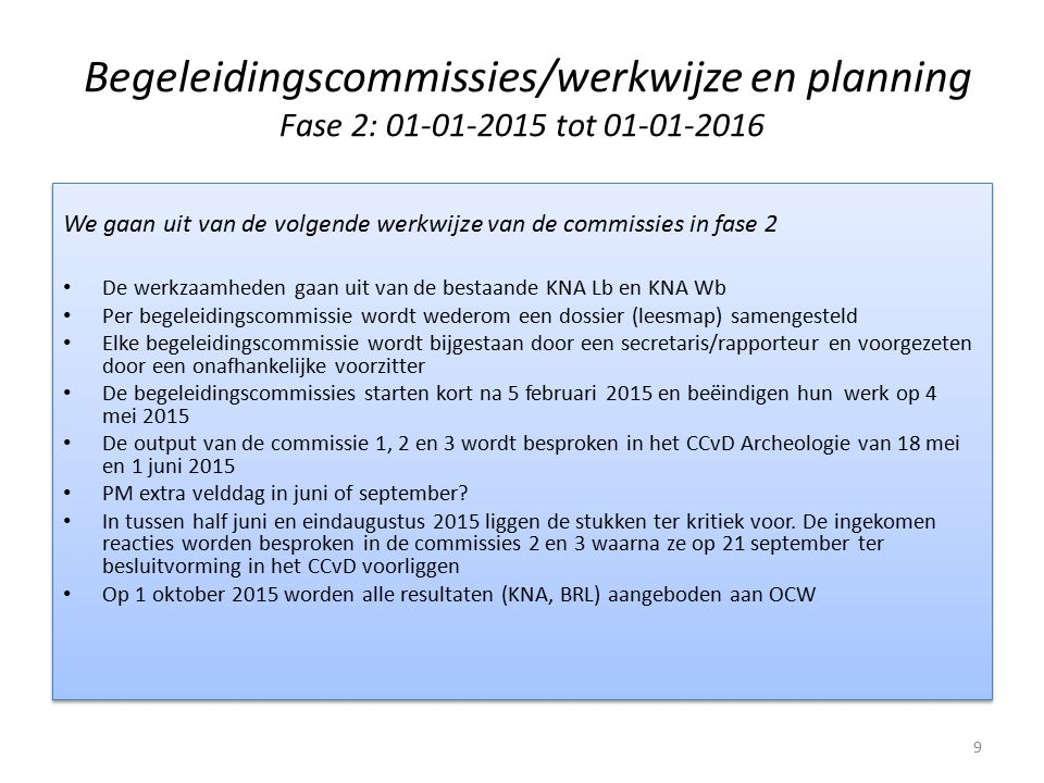 Begeleidingscommissies/werkwijze en planning Fase 2: 01-01-2015 tot 01-01-2016