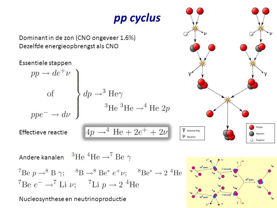 pp cyclus Dominant in de zon (CNO ongeveer 1.6%)
