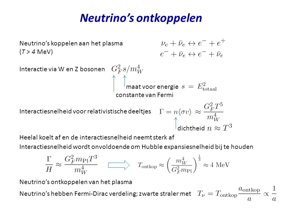 Neutrino's ontkoppelen