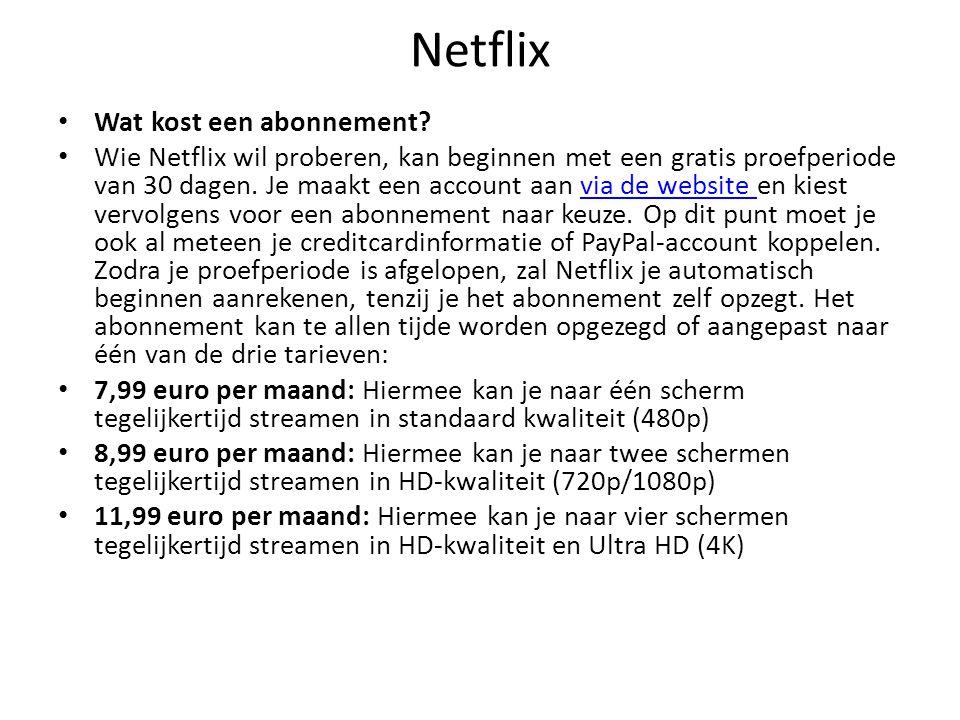 Netflix Wat kost een abonnement
