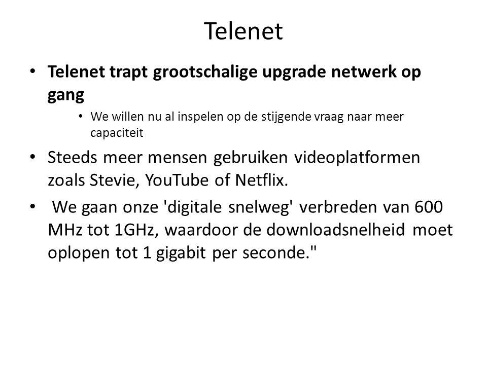 Telenet Telenet trapt grootschalige upgrade netwerk op gang